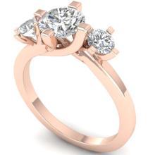 Lot 6300: 1.25 ctw VS/SI Diamond Solitaire 3 Stone Ring 14K Rose Gold - REF-201H3M - SKU:30406