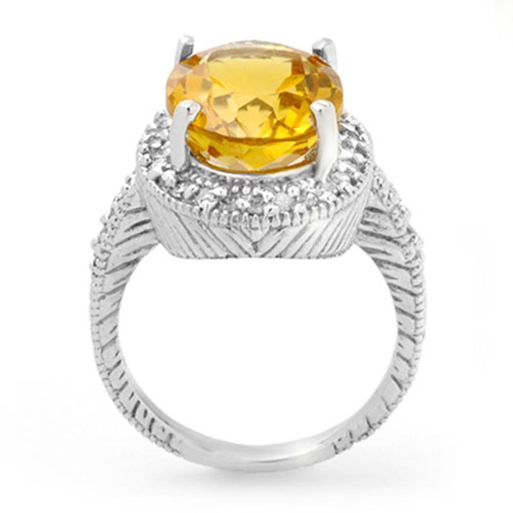 Lot 6294: 6.0 ctw Citrine & Diamond Ring 14K White Gold - REF-77F3N - SKU:13401