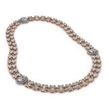 Lot 6307: 29.98 ctw Rare Oval Diamond Necklace 18K Rose Gold - REF-3584A9V - SKU:46195
