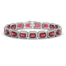 Lot 6403: 26.38 ctw Tourmaline & Diamond Halo Bracelet 10K White Gold - REF-890Y9X - SKU:41396