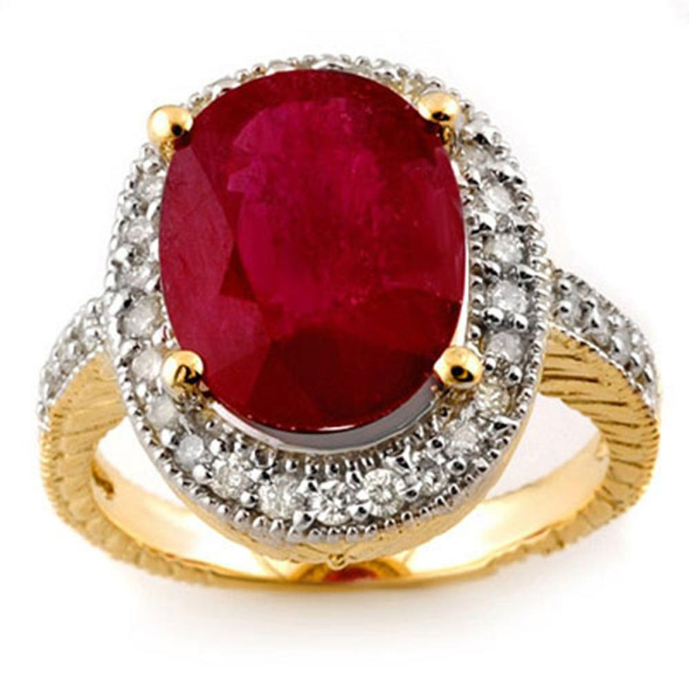 Lot 6420: 8.0 ctw Ruby & Diamond Ring 14K Yellow Gold - REF-92W4H - SKU:11647
