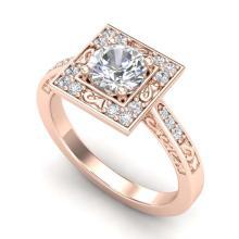 Lot 6326: 1.10 ctw VS/SI Diamond Art Deco Ring 18K Rose Gold - REF-227R3K - SKU:37266