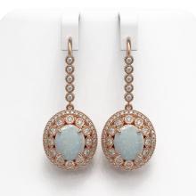 Lot 6412: 10.26 ctw Opal & Diamond Earrings 14K Rose Gold - REF-346A5V - SKU:43782