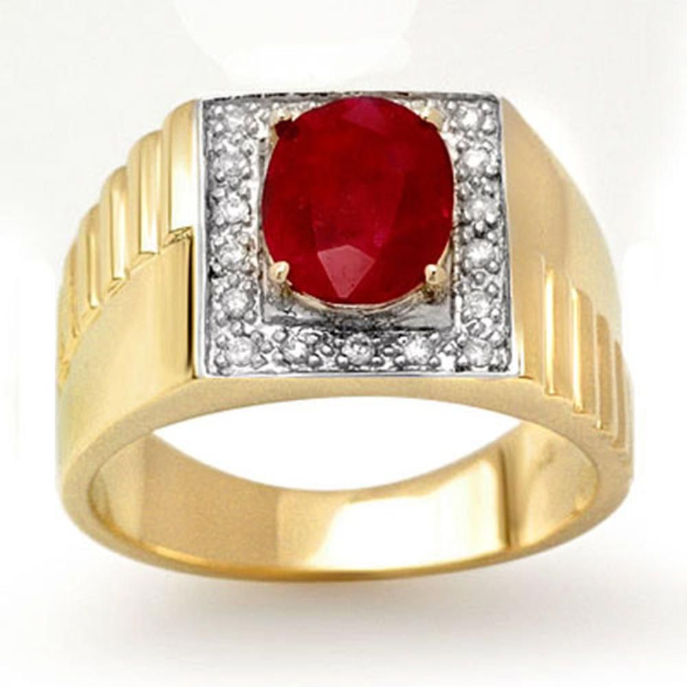 Lot 6424: 2.25 ctw Ruby & Diamond Men's Ring 10K Yellow Gold - REF-52M7F - SKU:13484