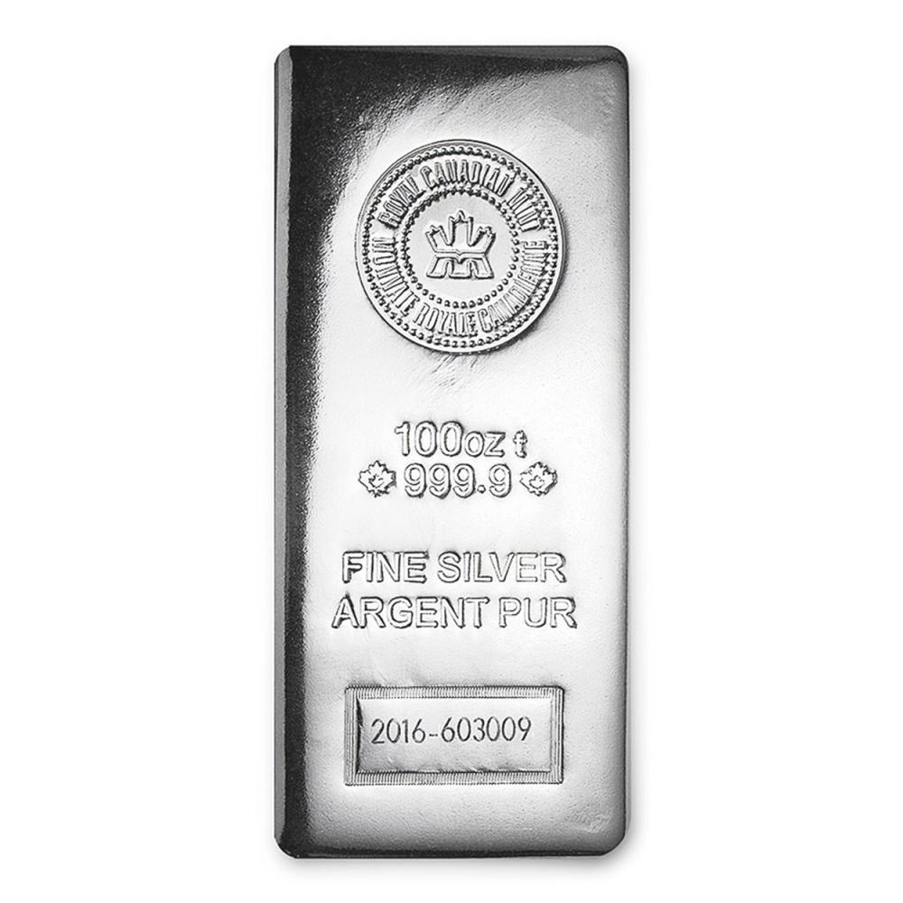 Lot 6416: One piece 100 oz 0.999 Fine Silver Bar Royal Canadian Mint-97758