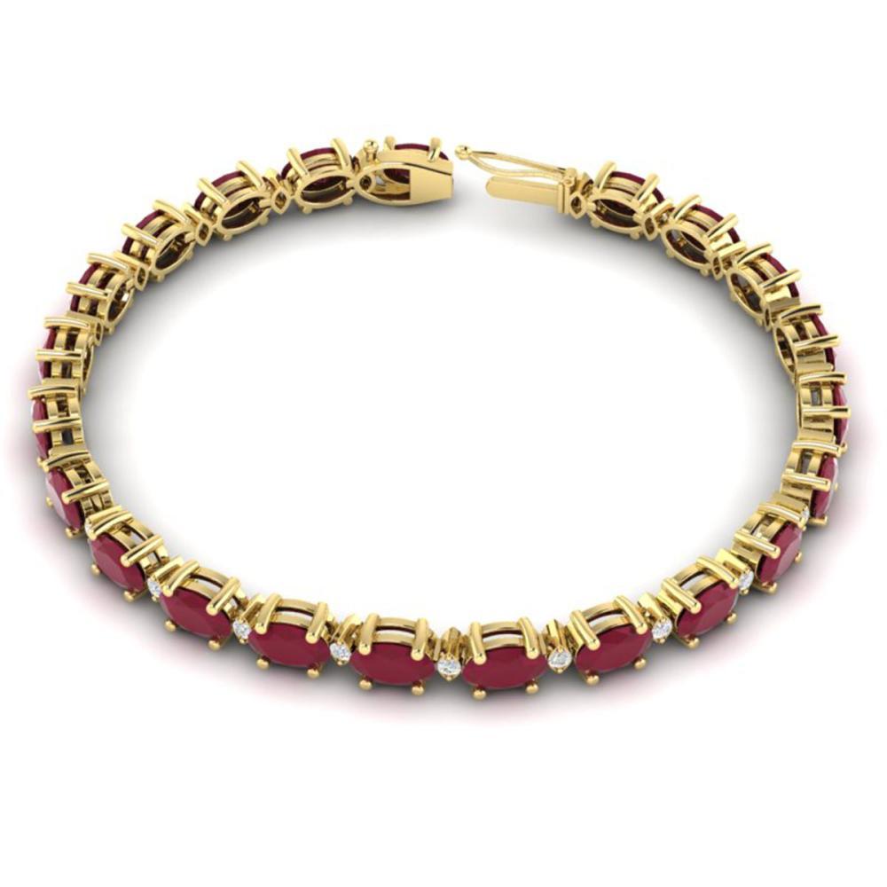 Lot 6321: 23.5 ctw Ruby & VS/SI Diamond Eternity Bracelet 10K Yellow Gold - REF-143H6M - SKU:29376