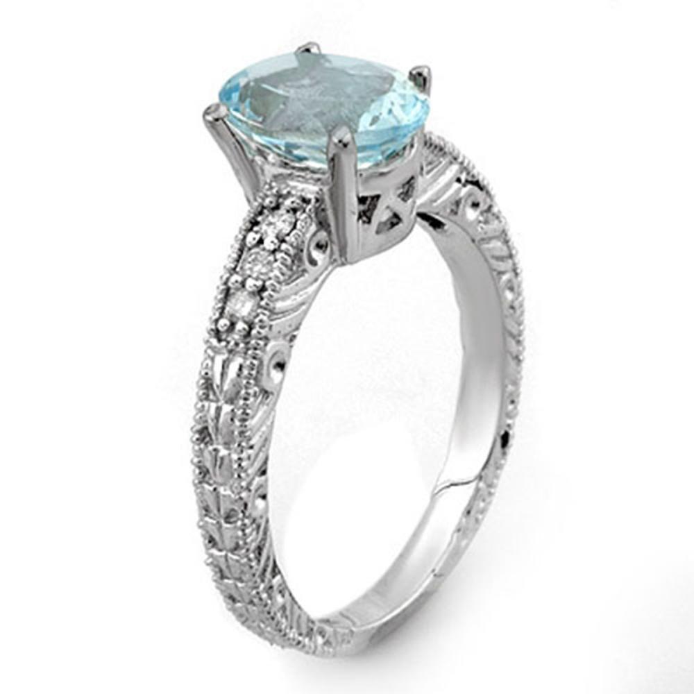 Lot 6339: 2.43 ctw Aquamarine & Diamond Ring 14K White Gold - REF-70R9K - SKU:11072