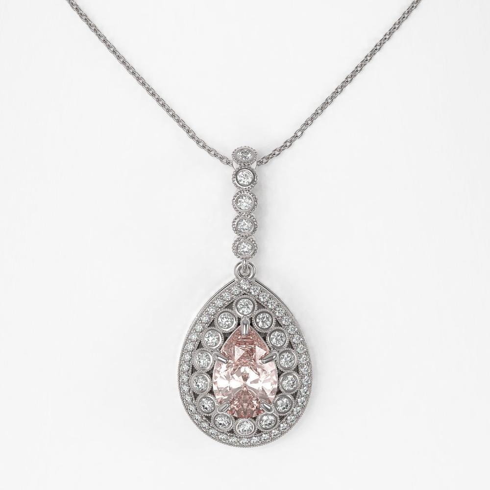 Lot 6319: 4.17 ctw Morganite & Diamond Necklace 14K White Gold - REF-186K9W - SKU:43223