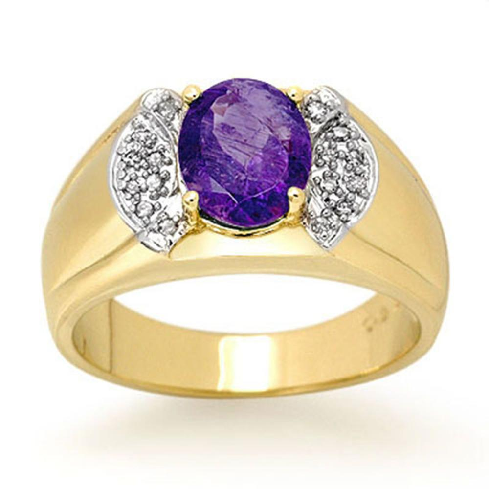 Lot 6429: 2.65 ctw Tanzanite & Diamond Men's Ring 10K Yellow Gold - REF-70R4K - SKU:13477