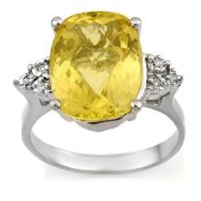 Lot 6426: 6.10 ctw Lemon Topaz & Diamond Ring 18K White Gold - REF-58K2W - SKU:10940