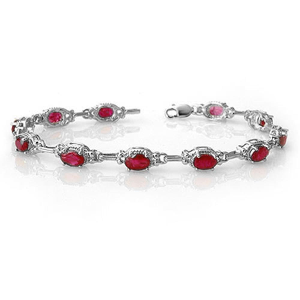 Lot 6443: 8.50 ctw Ruby Bracelet 14K White Gold - REF-81A8V - SKU:14235