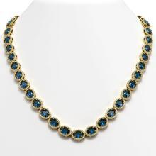 Lot 6450: 55.41 ctw London Topaz & Diamond Halo Necklace 10K Yellow Gold - REF-576X2R - SKU:40591