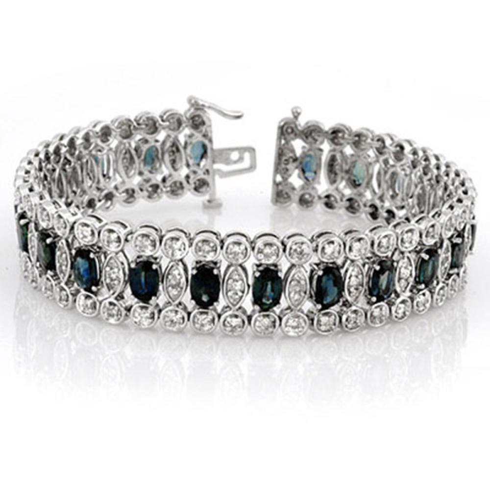 Lot 6437: 18.50 ctw Blue Sapphire & Diamond Bracelet 14K White Gold - REF-440H9M - SKU:11719