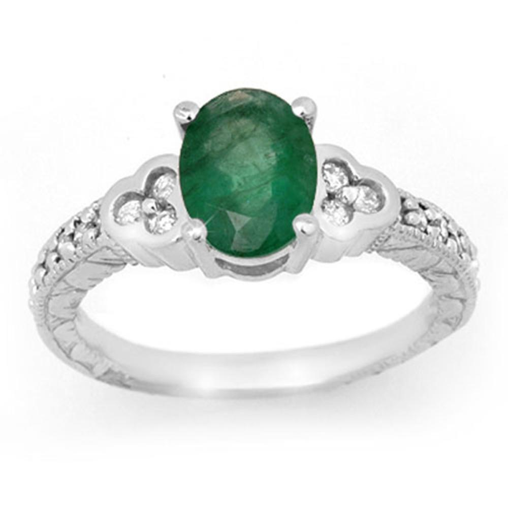 Lot 6445: 2.29 ctw Emerald & Diamond Ring 14K White Gold - REF-62F4N - SKU:13816