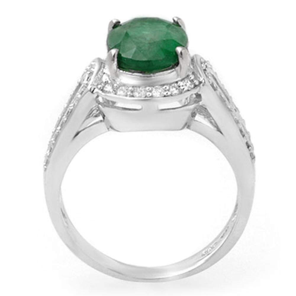 Lot 6362: 2.50 ctw Emerald & Diamond Ring 14K White Gold - REF-85K5W - SKU:14535