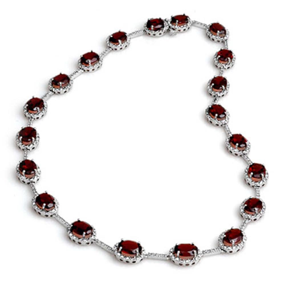 Lot 6363: 41.0 ctw Garnet & Diamond Necklace 14K White Gold - REF-262V7Y - SKU:10814