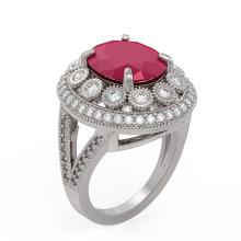 Lot 6364: 8.76 ctw Ruby & Diamond Ring 14K White Gold - REF-207W3H - SKU:43739