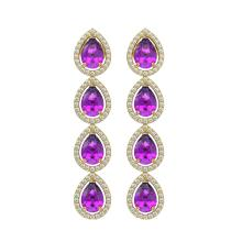 Lot 6469: 7.85 ctw Amethyst & Diamond Halo Earrings 10K Yellow Gold - REF-152W7H - SKU:41179