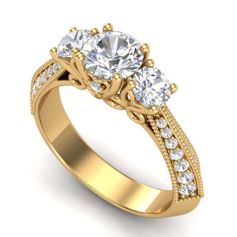 Lot 6470: 1.81 ctw VS/SI Diamond Art Deco 3 Stone Ring 18K Yellow Gold - REF-272H7M - SKU:37147