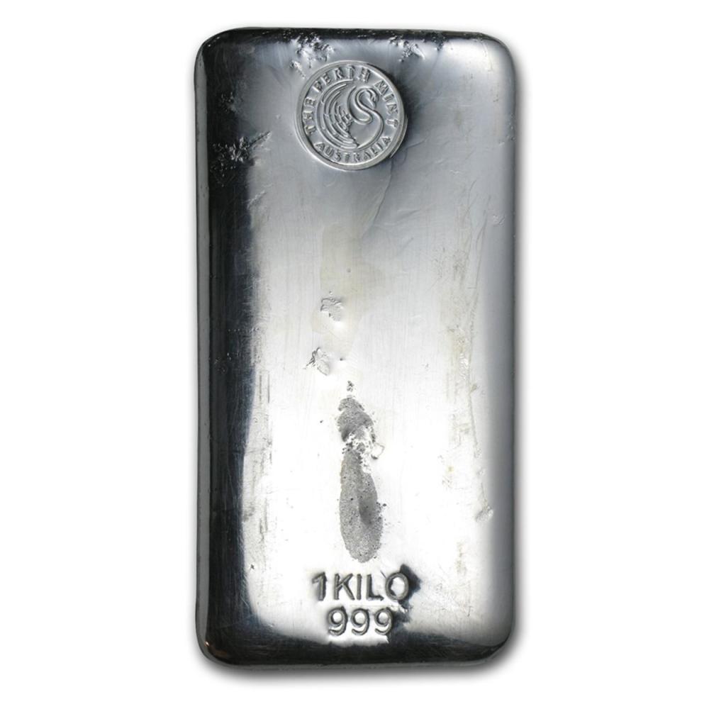 Lot 6473: One piece 1 kilo 0.999 Fine Silver Bar Perth Mint-57625