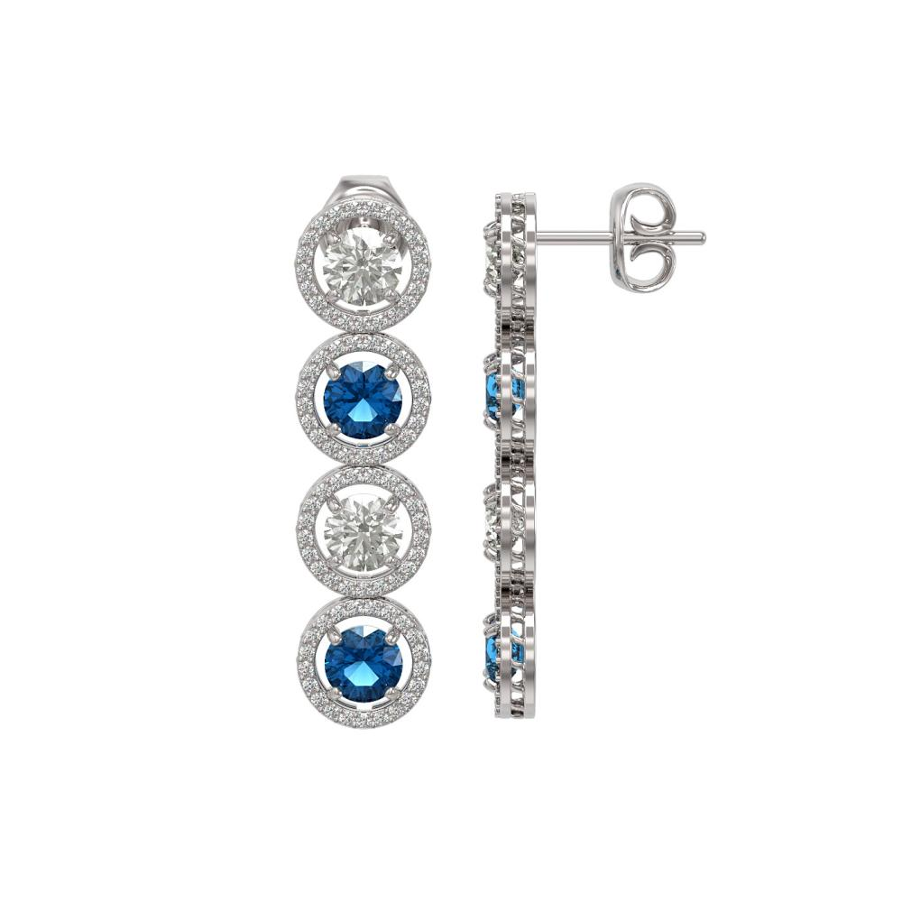 Lot 6377: 6.25 ctw Blue & Diamond Earrings 18K White Gold - REF-586X8R - SKU:42683