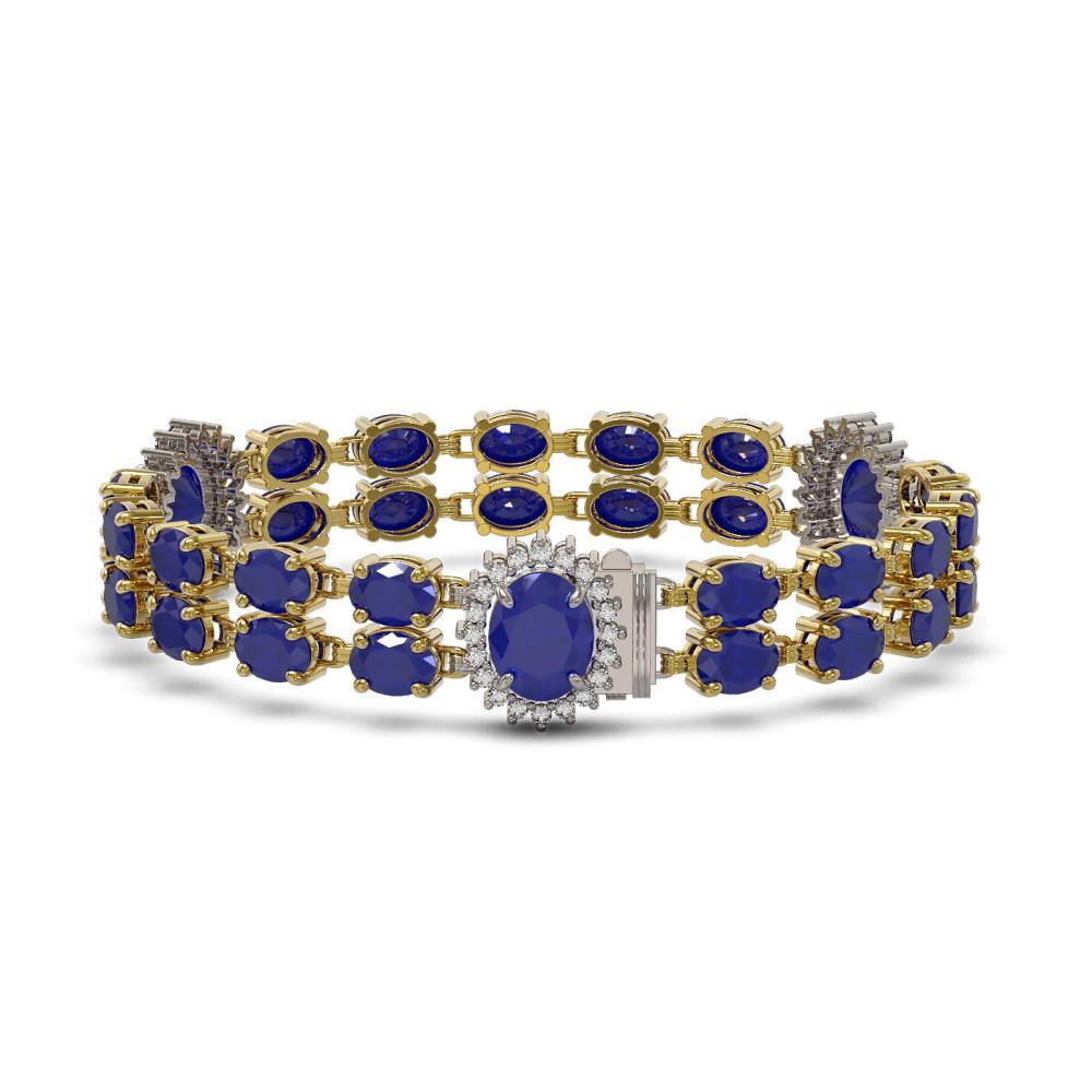 Lot 6388: 34.17 ctw Sapphire & Diamond Bracelet 14K Yellow Gold - REF-247X2R - SKU:44404