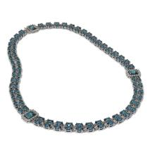 Lot 6384: 37.96 ctw London Topaz & Diamond Necklace 14K White Gold - REF-415N5A - SKU:45002