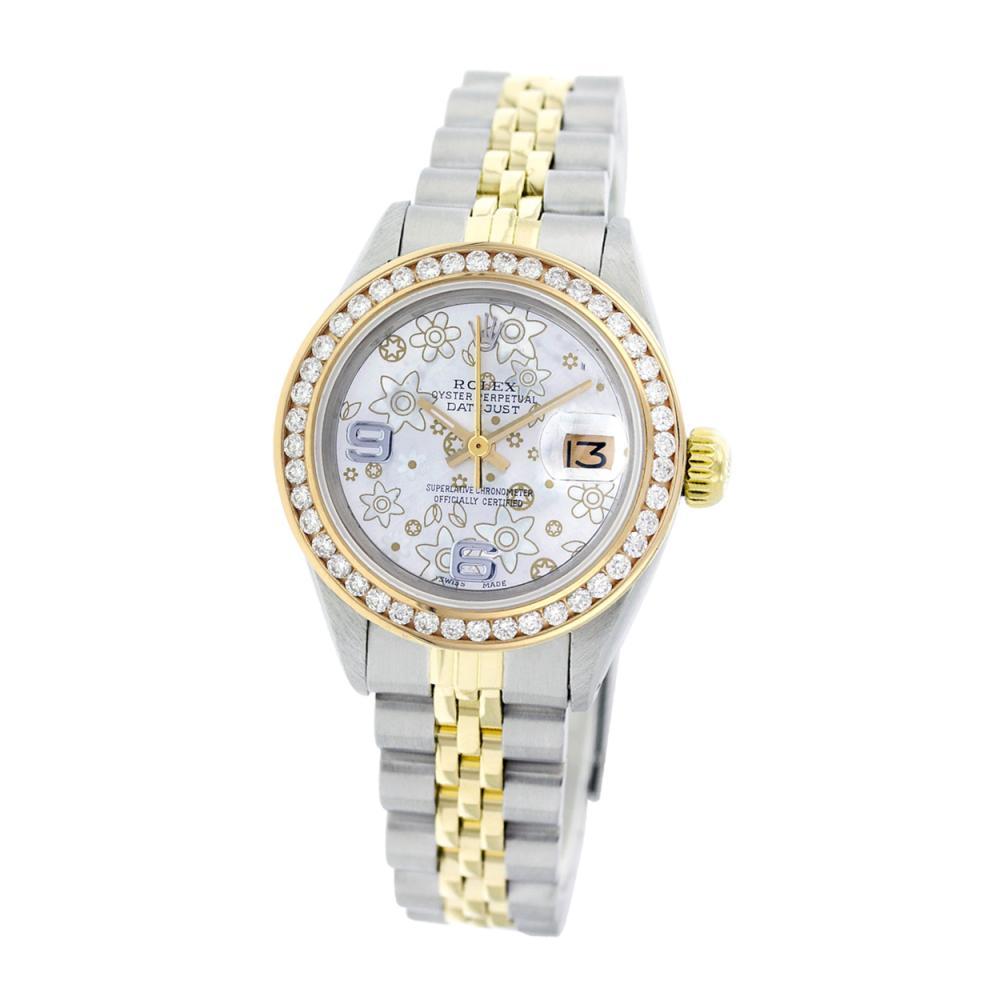 Lot 6408: Rolex Ladies Two Tone 14K Gold/SS, Arabic Dial with Diamond Bezel, Sapphire Crystal - REF-462F5M