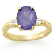 Lot 6496: 3.70 ctw Tanzanite & Diamond Ring 10K Yellow Gold - REF-105N3A - SKU:11679