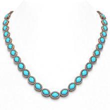 Lot 6491: 36.208 ctw Turquoise & Diamond Halo Necklace 10K Rose Gold - REF-553A5V - SKU:46011