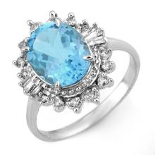 Lot 6484: 3.95 ctw Blue Topaz & Diamond Ring 10K White Gold - REF-41F5N - SKU:10968