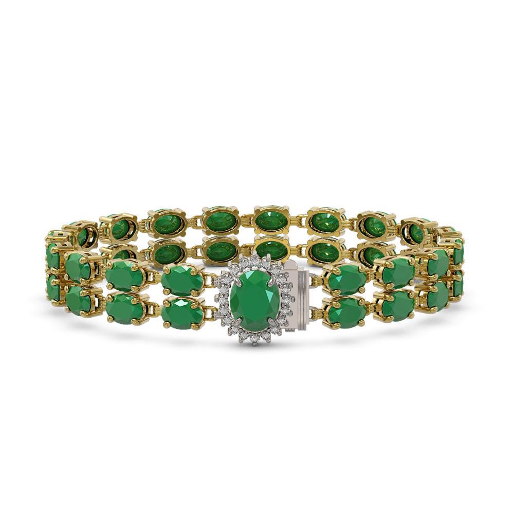 Lot 6479: 30.12 ctw Emerald & Diamond Bracelet 14K Yellow Gold - REF-199N3A - SKU:45481