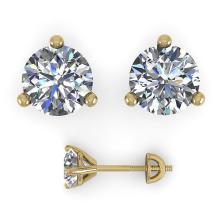 Lot 6338: 0.52 ctw VS/SI Diamond Stud Earrings 18K Yellow Gold - REF-41F3N - SKU:32197