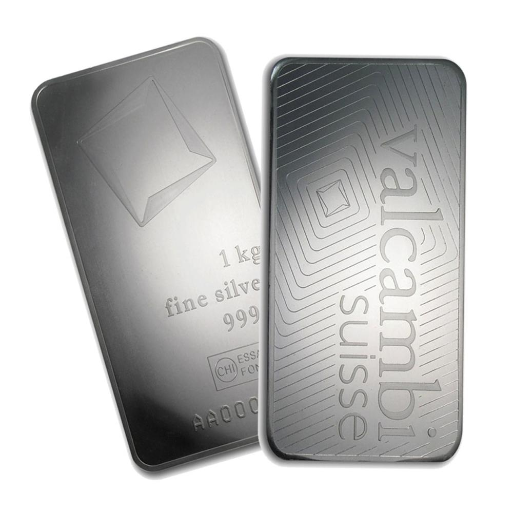 Lot 6487: One piece 1 kilo 0.999 Fine Silver Bar Valcambi with Assay-78911