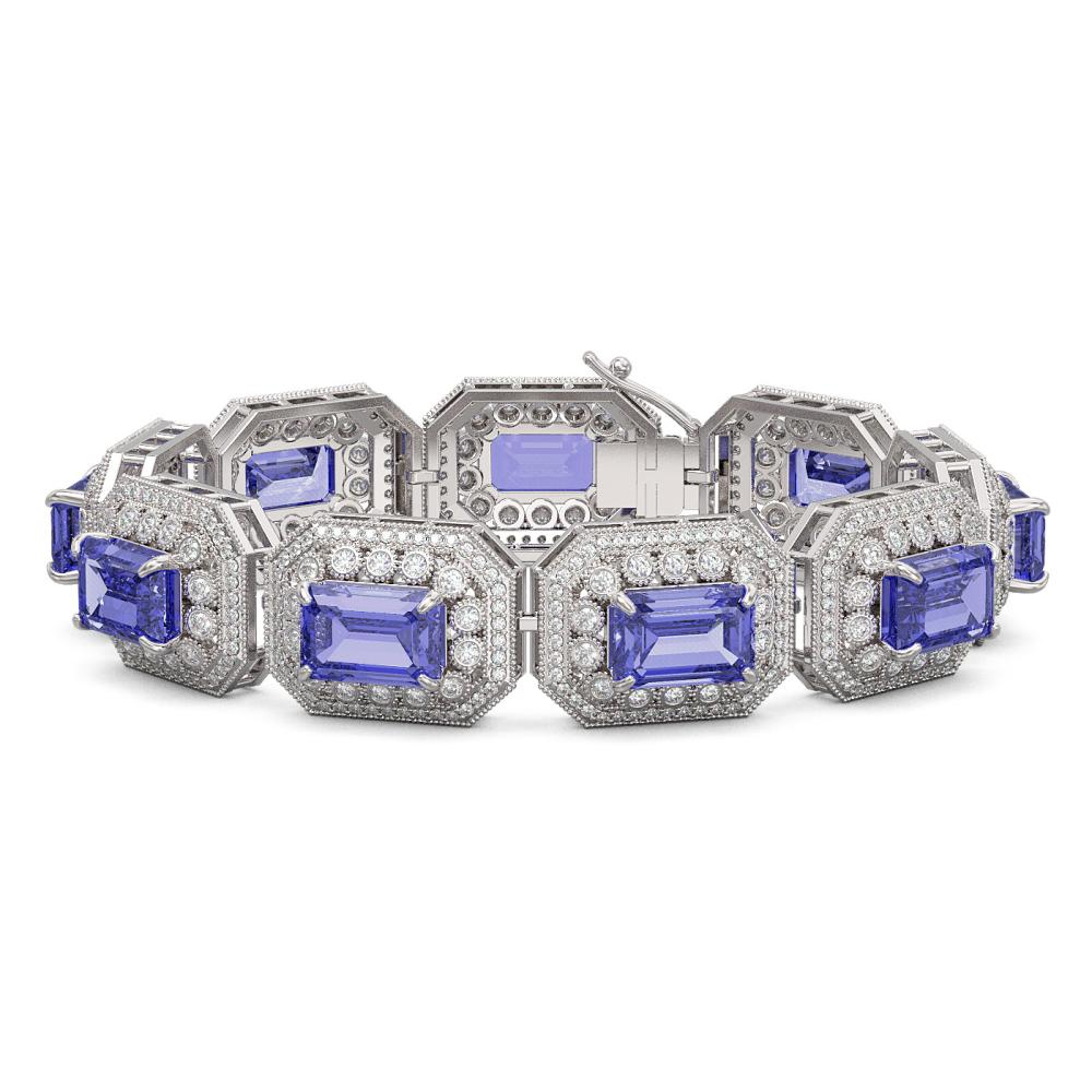 Lot 6499: 50.67 ctw Tanzanite & Diamond Bracelet 14K White Gold - REF-1746Y2X - SKU:43493