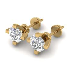 Lot 6436: 1 ctw VS/SI Diamond Solitaire Stud Earrings 14K Yellow Gold - REF-145M3F - SKU:30401