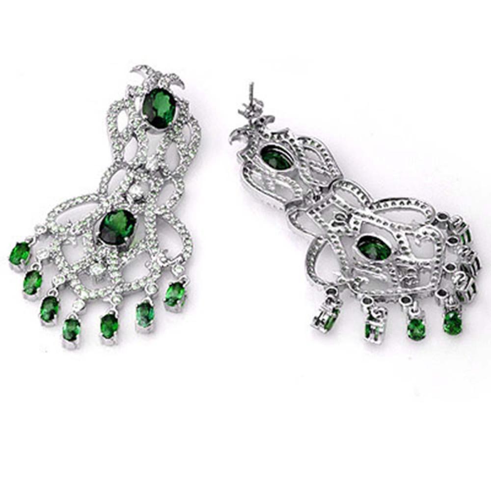 Lot 6419: 17.30 ctw Emerald & Diamond Earrings 14K White Gold - REF-490H9M - SKU:11843