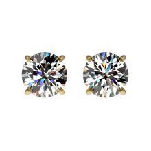 Lot 6522: 1.02 ctw H-SI/I Diamond Stud Earrings 10K Yellow Gold - REF-103M5F - SKU:36568