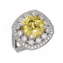 Lot 6518: 7.22 ctw Canary Citrine & Diamond Ring 14K White Gold - REF-135V5Y - SKU:43943