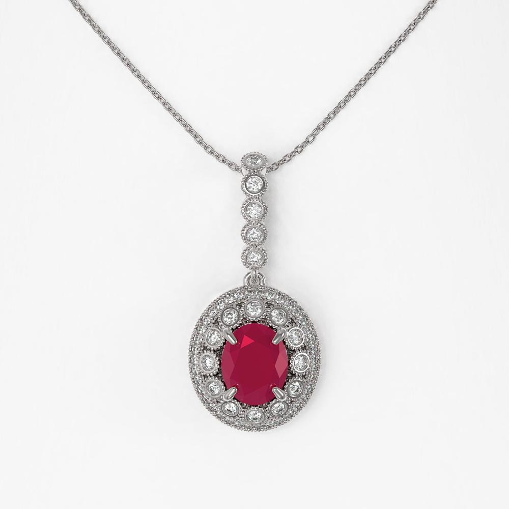 Lot 6465: 4.67 ctw Ruby & Diamond Necklace 14K White Gold - REF-136V5Y - SKU:43658