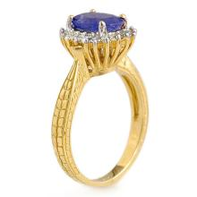 Lot 6461: 2.75 ctw Tanzanite & Diamond Ring 18K Yellow Gold - REF-87K3W - SKU:13597