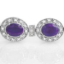 Lot 6453: 16.0 ctw Tanzanite & Diamond Bracelet 14K White Gold - REF-436M4F - SKU:14196