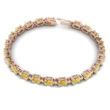 Lot 6447: 19.7 ctw Citrine & VS/SI Diamond Eternity Bracelet 10K Rose Gold - REF-98W2H - SKU:29364