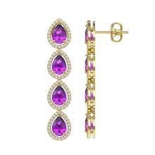 Lot 6469: 7.85 ctw Amethyst & Diamond Halo Earrings 10K Yellow Gold - REF-152W7H - SKU:41179