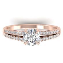 Lot 6538: 1.11 ctw VS/SI Diamond Art Deco Ring 14K Rose Gold - REF-182X9R - SKU:30304