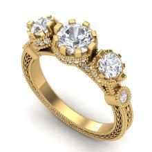 Lot 6549: 1.75 ctw VS/SI Diamond Solitaire Art Deco 3 Stone Ring 18K Yellow Gold - REF-309Y3X - SKU:37072
