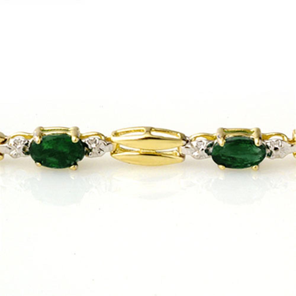 Lot 6478: 2.70 ctw Emerald Bracelet 10K Yellow Gold - REF-45F5N - SKU:11782