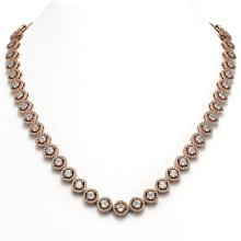 Lot 6548: 21.69 ctw Cushion Diamond Necklace 18K Rose Gold - REF-1831N4A - SKU:43101