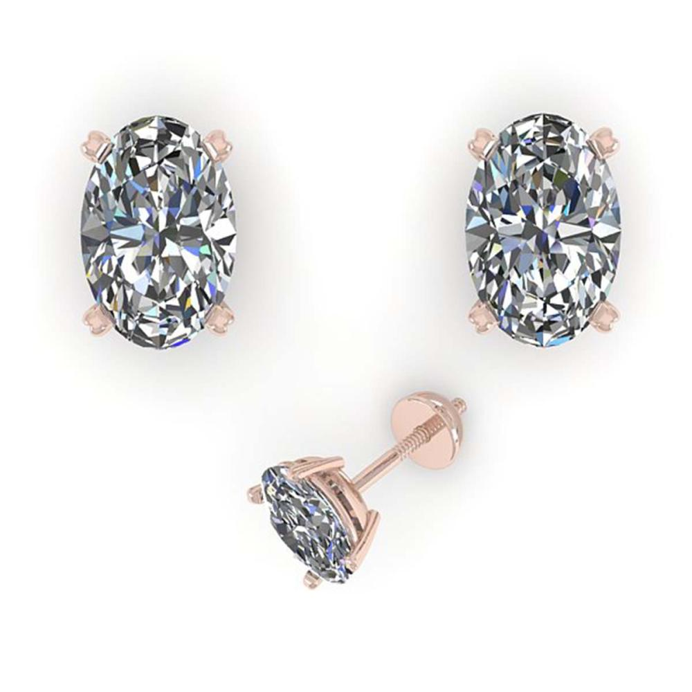 Lot 6493: 1.0 ctw VS/SI Oval Cut Diamond Stud Earrings 14K Rose Gold - REF-148V5Y - SKU:38358