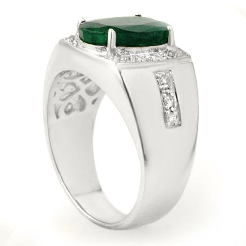 Lot 6490: 4.58 ctw Emerald & Diamond Men's Ring 10K White Gold - REF-118F2N - SKU:14485